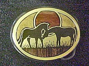Pair Of Horses Metal Belt Buckle
