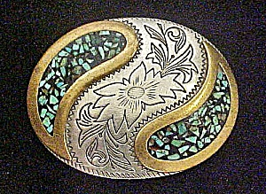 Western Turquoise/Floral Metal Belt Buckle (Image1)