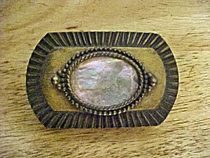 Abalone/Brass Finished Belt Buckle - Vintage (Image1)