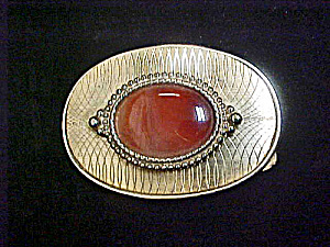 Carnelian Agate Gold-Toned Metal Belt Buckle (Image1)