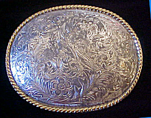 Floral Western Metal Belt Buckle (Image1)