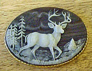 Incolay Stone Elk Belt Buckle