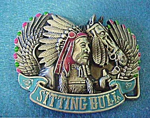 Sitting Bull Metal Belt Buckle