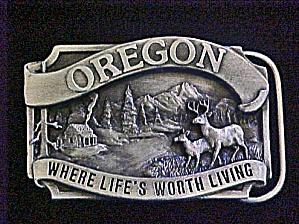 Oregon Where Life's Worth Living Belt Buckle (Image1)