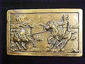 Cowboy Roping Steer Belt Buckle (Image1)