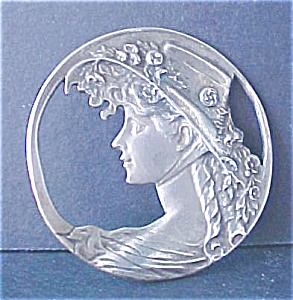 Frosted Silver Figural Pin - Holland
