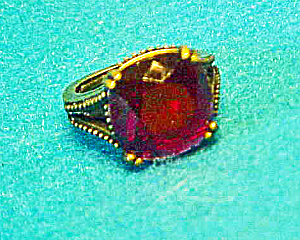 Red Stone Ring - Faceted- Antiqued Brass (Image1)