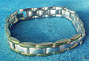 Silver-gold Toned Magnetic Bracelet