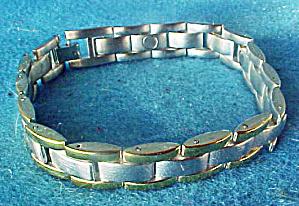 Silver-Gold Toned Magnetic Bracelet (Image1)