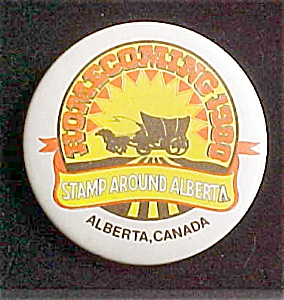 Stamp Around Alberta Advertising Pin Back (Image1)
