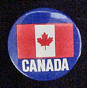 Canada Pin-Back With Canadian Flag (Image1)