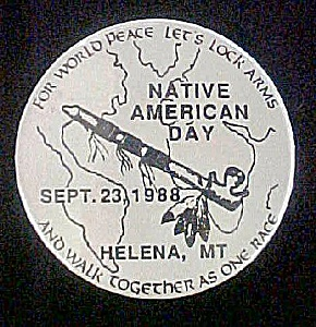 Native American Day - Sept. 23, 1988 Pin-Back (Image1)