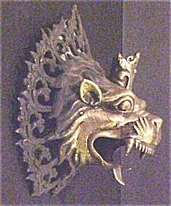 Nepal Temple Dragon/Lion? Head  Candleholder (Image1)