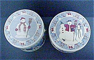 Two Decorative Snowmen Tins