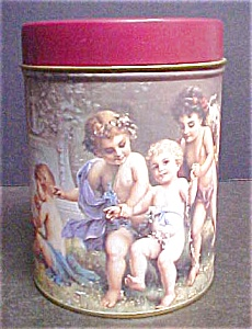 Decorative Round Tin with Cherubs (Image1)