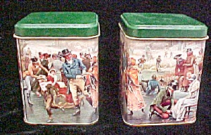 Victorian Period Skating Scene - Pair of Tins (Image1)