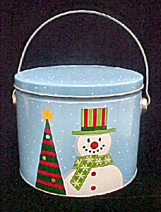 Snowman Christmas Pail Tin Container