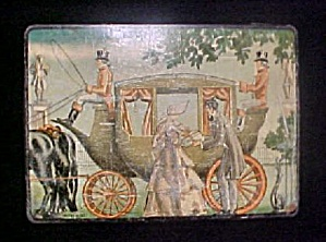 Advertising Tin - Couple w/Coach and Driver (Image1)