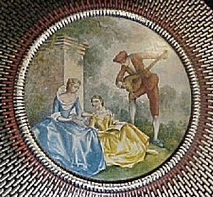 Vintage  Round Tin w/Period Scene (Image1)