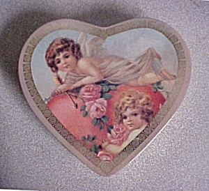 Cherubs And Roses W/heart Shaped Tin