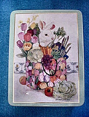 Rabbit W/flowers And Produce Tin Container