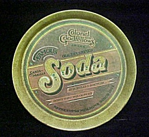 Vintage Round Metal Beverage Tray (Image1)