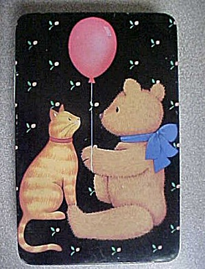 Cat W/bear Rectangular Tin - Signed