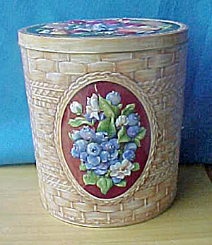 Large Floral Tin Container w/Basket Weave (Image1)