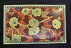 Oriental Design Floral Hinged Tin - Vintage (Image1)