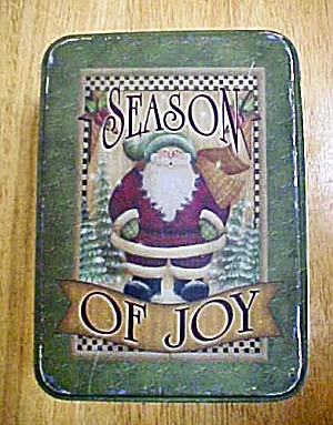Santa Tin Container - Season Of Joy - Vintage