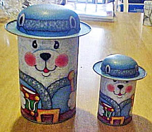 Set Two White Bears Tin Containers (Image1)