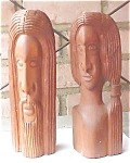 Hand Carved Wooden Couple - Signed