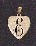 Click here to enlarge image and see more about item A111: 14 K Heart Shape Initial E Pendant