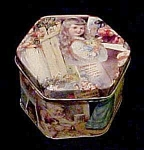 Click to view larger image of Hexagon Victorian Style Tin (Image1)
