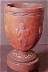 Click here to enlarge image and see more about item A173: Carved  Wooden Cup With Relief Figures