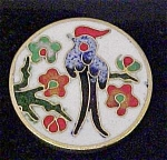 Click here to enlarge image and see more about item A196: Elegant Bird/Cloisonne Button