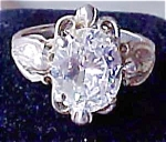 Click here to enlarge image and see more about item A220:  Sterling Diamonique 3 Carat Oval Ring