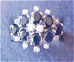 Click here to enlarge image and see more about item A228: Sterling Silver Sapphire & Diamonique Ring