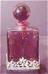 Click here to enlarge image and see more about item A232: Purple Glass & Pewter Accented Perfume Bottle