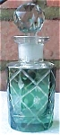 Click here to enlarge image and see more about item A233: Cut Glass Green Perfume Bottle