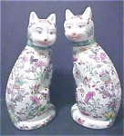Click here to enlarge image and see more about item A305: Pair of Oriental Ceramic Cats