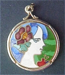 Click here to enlarge image and see more about item A324: Brass Pendant With Enamel Portrait