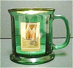 Click here to enlarge image and see more about item A358: Green & Gold Colored Advertising Mug