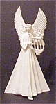 Click here to enlarge image and see more about item A363: Vintage Porcelain Angel with Harp