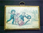 Click here to enlarge image and see more about item A372: Vintage Antiqued Painting of Children At Play