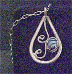 Click here to enlarge image and see more about item A378: Native American Silver Paua Pendant w/Chain