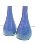 Pair Blue Ceramic Bud Vases - Hoganas