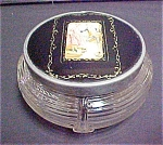 Click here to enlarge image and see more about item A419: Vintage Powder Jar With Decorative Lid