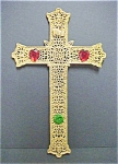 Click here to enlarge image and see more about item A463: Gold Toned Metal Filigree Cross W/Stones