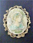 Click here to enlarge image and see more about item A469: Decoupage Style  Oval Portrait Pin/Pendant